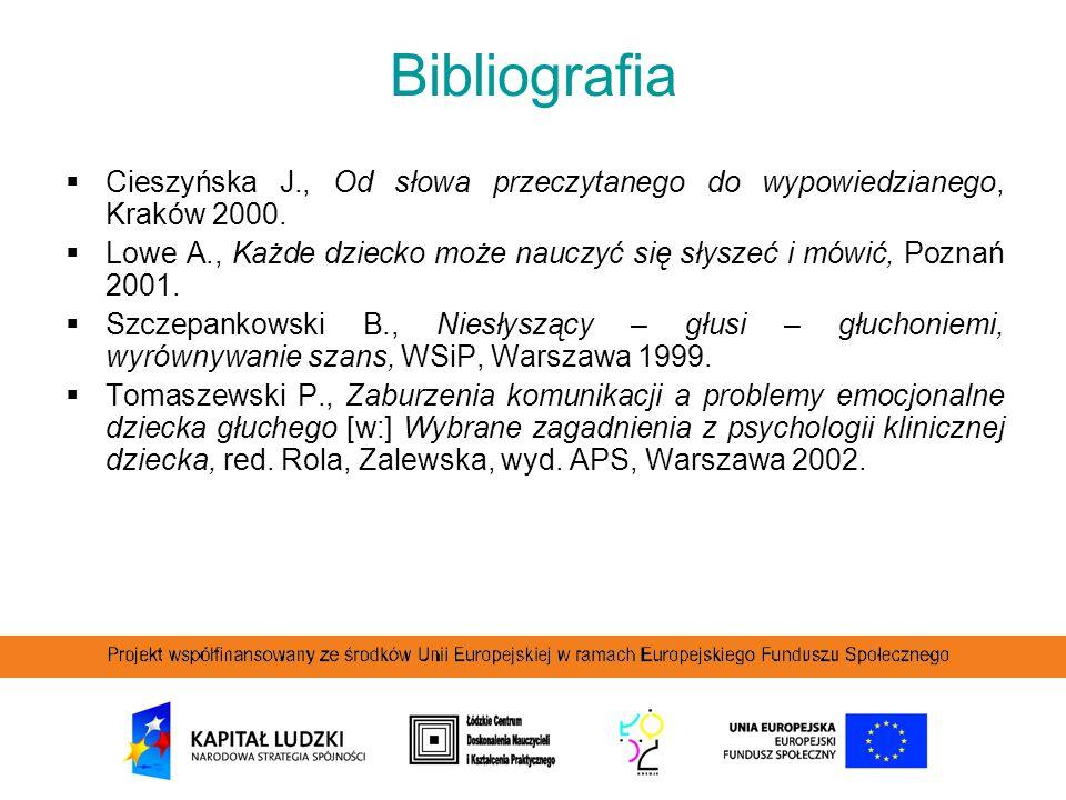 Bibliografia  Cieszyńska J., Od słowa przeczytanego do wypowiedzianego, Kraków 2000.  Lowe A., Każde dziecko może nauczyć się słyszeć i mówić, Pozna