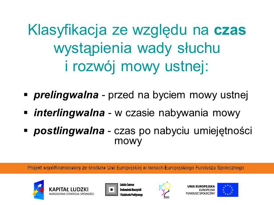  prelingwalna - przed na byciem mowy ustnej  interlingwalna - w czasie nabywania mowy  postlingwalna - czas po nabyciu umiejętności mowy Klasyfikac