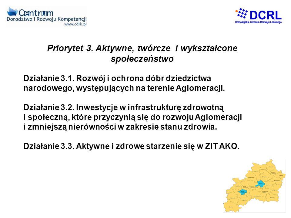 Priorytet 3.Aktywne, twórcze i wykształcone społeczeństwo Działanie 3.1.