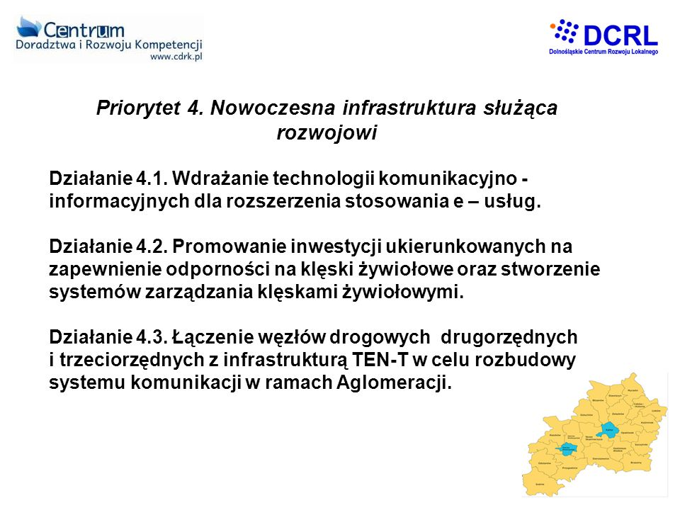 Priorytet 4.Nowoczesna infrastruktura służąca rozwojowi Działanie 4.1.