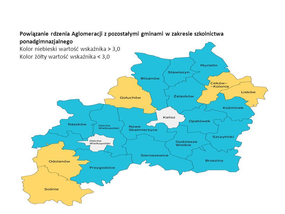 Powiązanie rdzenia Aglomeracji z pozostałymi gminami w zakresie szkolnictwa ponadgimnazjalnego Kolor niebieski wartość wskaźnika > 3,0 Kolor żółty wartość wskaźnika < 3,0
