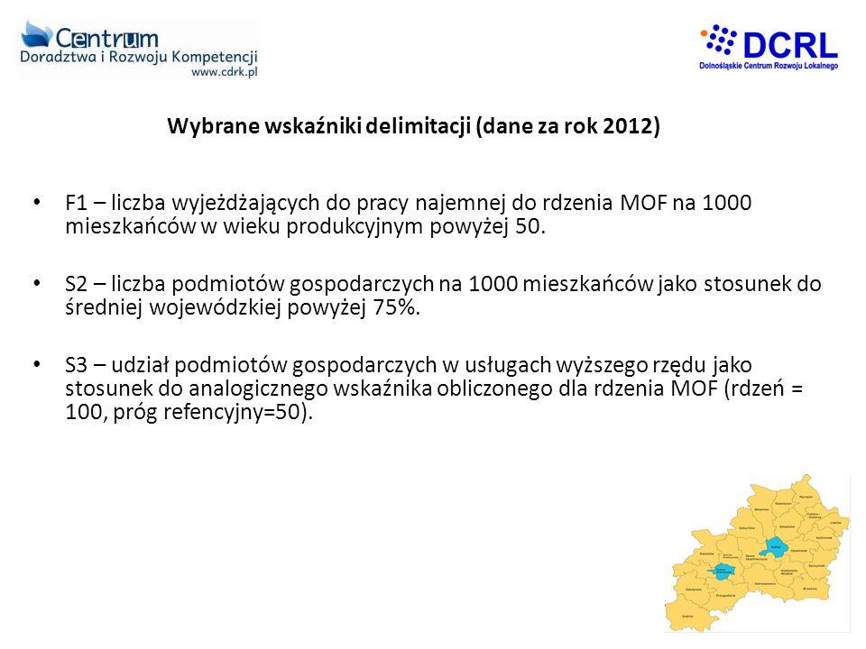 Wybrane wskaźniki delimitacji (dane za rok 2012) • F1 – liczba wyjeżdżających do pracy najemnej do rdzenia MOF na 1000 mieszkańców w wieku produkcyjnym powyżej 50.