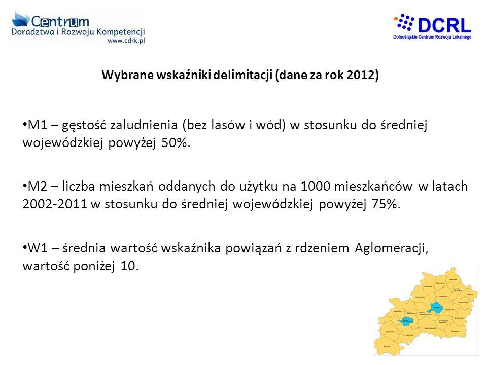 Wybrane wskaźniki delimitacji (dane za rok 2012) • M1 – gęstość zaludnienia (bez lasów i wód) w stosunku do średniej wojewódzkiej powyżej 50%.