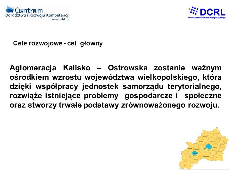 Cele rozwojowe - cel główny Aglomeracja Kalisko – Ostrowska zostanie ważnym ośrodkiem wzrostu województwa wielkopolskiego, która dzięki współpracy jednostek samorządu terytorialnego, rozwiąże istniejące problemy gospodarcze i społeczne oraz stworzy trwałe podstawy zrównoważonego rozwoju.