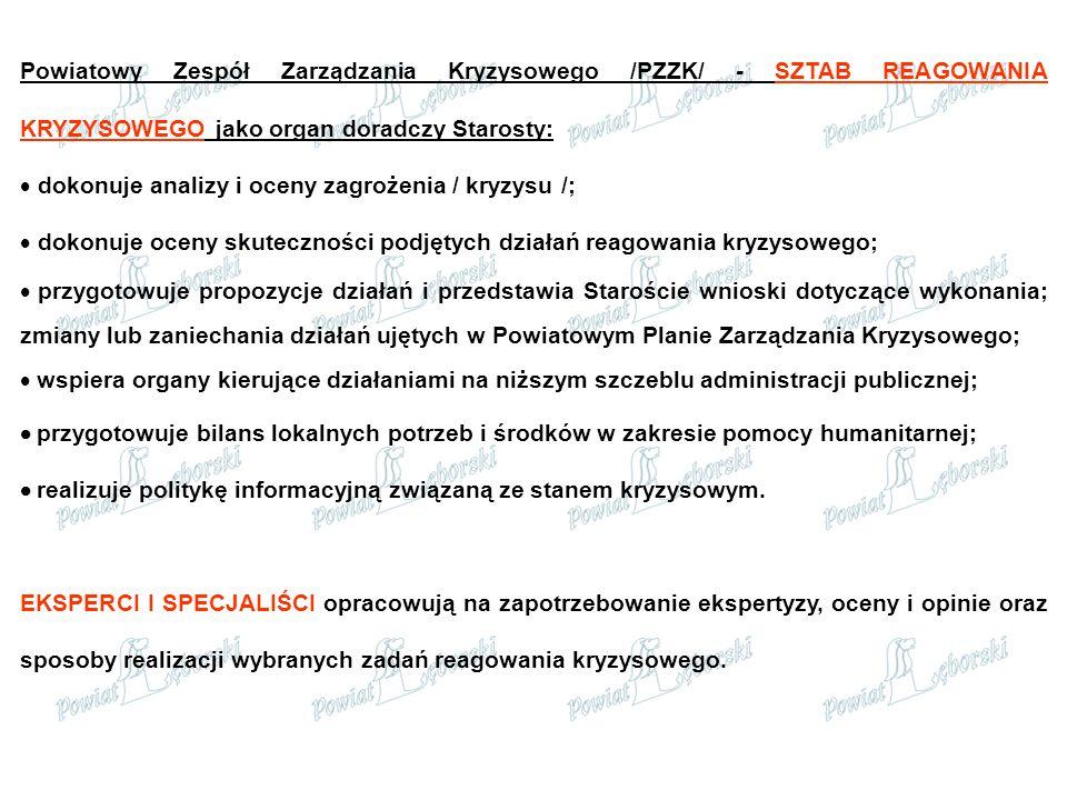 Powiatowy Zespół Zarządzania Kryzysowego /PZZK/ - SZTAB REAGOWANIA KRYZYSOWEGO jako organ doradczy Starosty:  dokonuje analizy i oceny zagrożenia / k