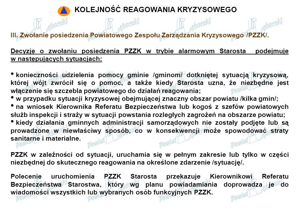 III. Zwołanie posiedzenia Powiatowego Zespołu Zarządzania Kryzysowego /PZZK/. Decyzję o zwołaniu posiedzenia PZZK w trybie alarmowym Starosta podejmuj