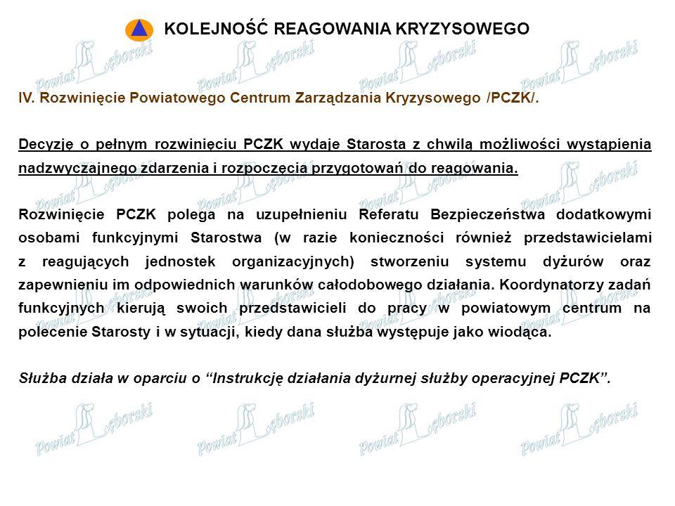 IV. Rozwinięcie Powiatowego Centrum Zarządzania Kryzysowego /PCZK/. Decyzję o pełnym rozwinięciu PCZK wydaje Starosta z chwilą możliwości wystąpienia