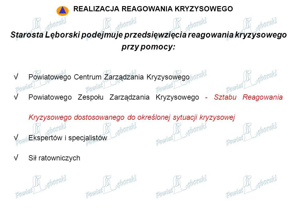 Starosta Lęborski podejmuje przedsięwzięcia reagowania kryzysowego przy pomocy:  Powiatowego Centrum Zarządzania Kryzysowego  Powiatowego Zespołu Za