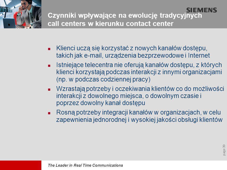 The Leader in Real Time Communications page 39 Czynniki wpływające na ewolucję tradycyjnych call centers w kierunku contact center  Klienci uczą się korzystać z nowych kanałów dostępu, takich jak e-mail, urządzenia bezprzewodowe i Internet  Istniejące telecentra nie oferują kanałów dostępu, z których klienci korzystają podczas interakcji z innymi organizacjami (np.