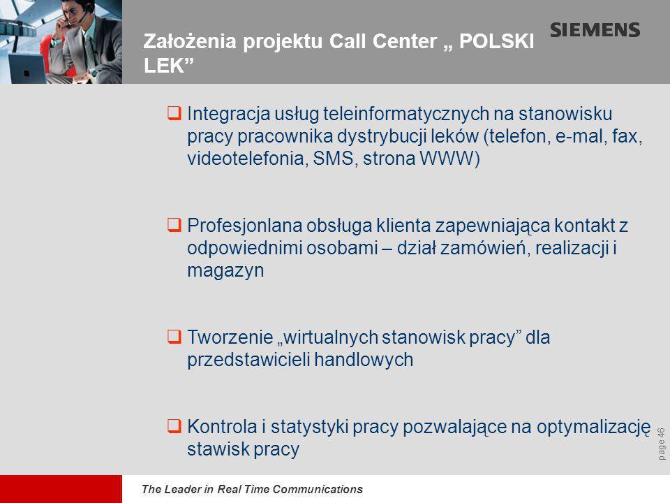 """The Leader in Real Time Communications page 46 Założenia projektu Call Center """" POLSKI LEK  Integracja usług teleinformatycznych na stanowisku pracy pracownika dystrybucji leków (telefon, e-mal, fax, videotelefonia, SMS, strona WWW)  Profesjonlana obsługa klienta zapewniająca kontakt z odpowiednimi osobami – dział zamówień, realizacji i magazyn  Tworzenie """"wirtualnych stanowisk pracy dla przedstawicieli handlowych  Kontrola i statystyki pracy pozwalające na optymalizację stawisk pracy"""