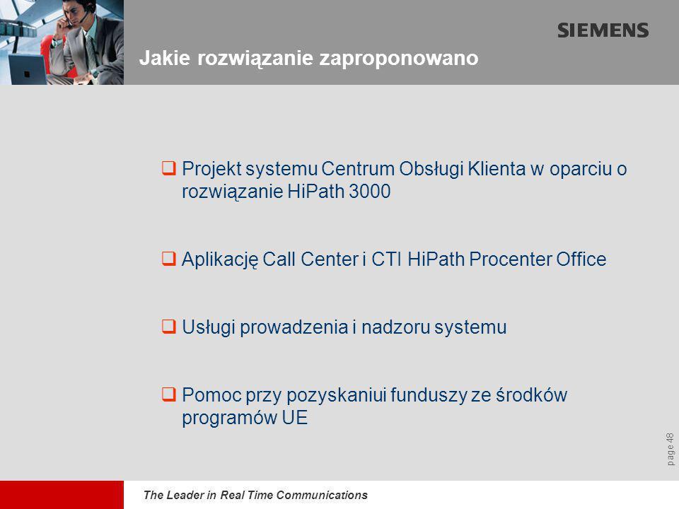 The Leader in Real Time Communications page 48 Jakie rozwiązanie zaproponowano  Projekt systemu Centrum Obsługi Klienta w oparciu o rozwiązanie HiPath 3000  Aplikację Call Center i CTI HiPath Procenter Office  Usługi prowadzenia i nadzoru systemu  Pomoc przy pozyskaniui funduszy ze środków programów UE