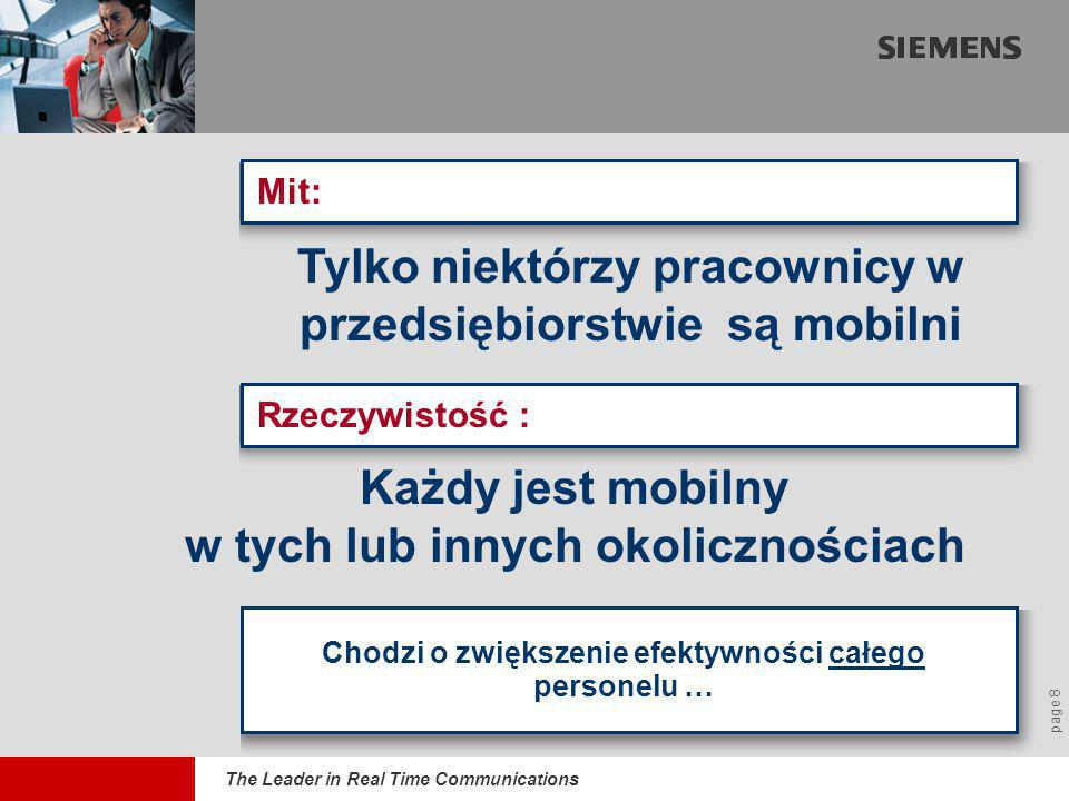 The Leader in Real Time Communications page 8 Mit: Chodzi o zwiększenie efektywności całego personelu … Rzeczywistość : Tylko niektórzy pracownicy w p