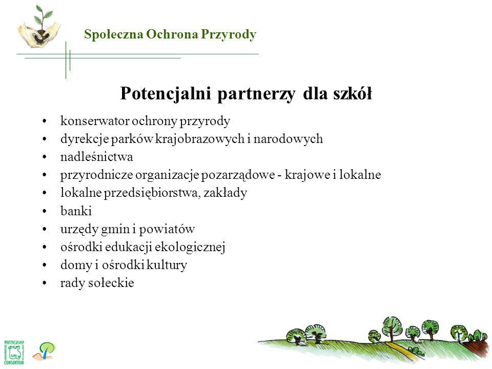 Potencjalni partnerzy dla szkół •konserwator ochrony przyrody •dyrekcje parków krajobrazowych i narodowych •nadleśnictwa •przyrodnicze organizacje poz