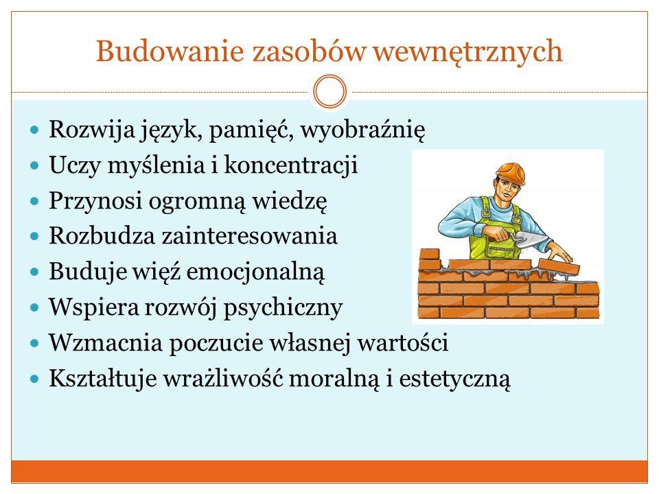 Budowanie zasobów wewnętrznych  Rozwija język, pamięć, wyobraźnię  Uczy myślenia i koncentracji  Przynosi ogromną wiedzę  Rozbudza zainteresowania