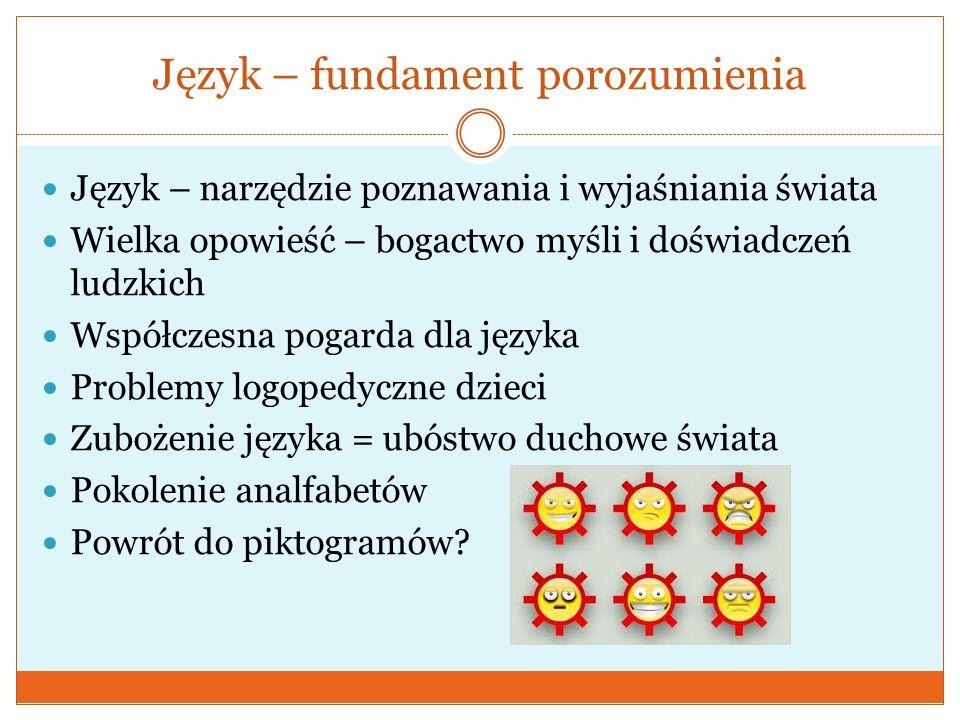 Język – fundament porozumienia  Język – narzędzie poznawania i wyjaśniania świata  Wielka opowieść – bogactwo myśli i doświadczeń ludzkich  Współcz