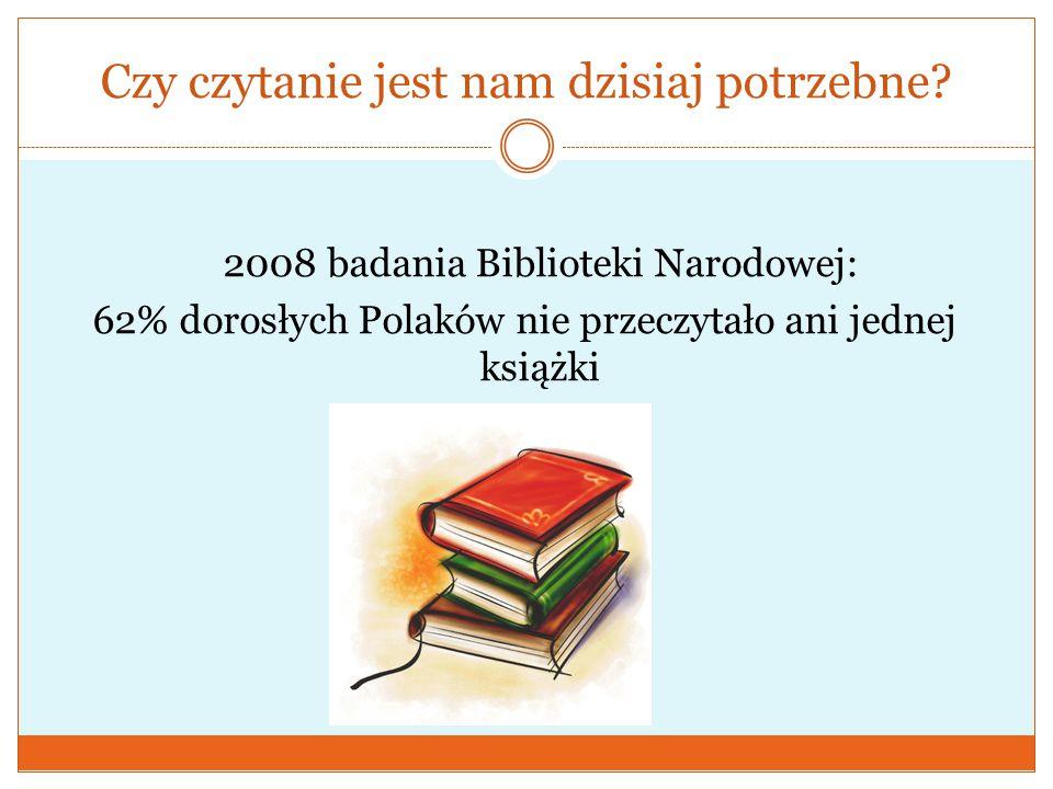 Czy czytanie jest nam dzisiaj potrzebne? 2008 badania Biblioteki Narodowej: 62% dorosłych Polaków nie przeczytało ani jednej książki