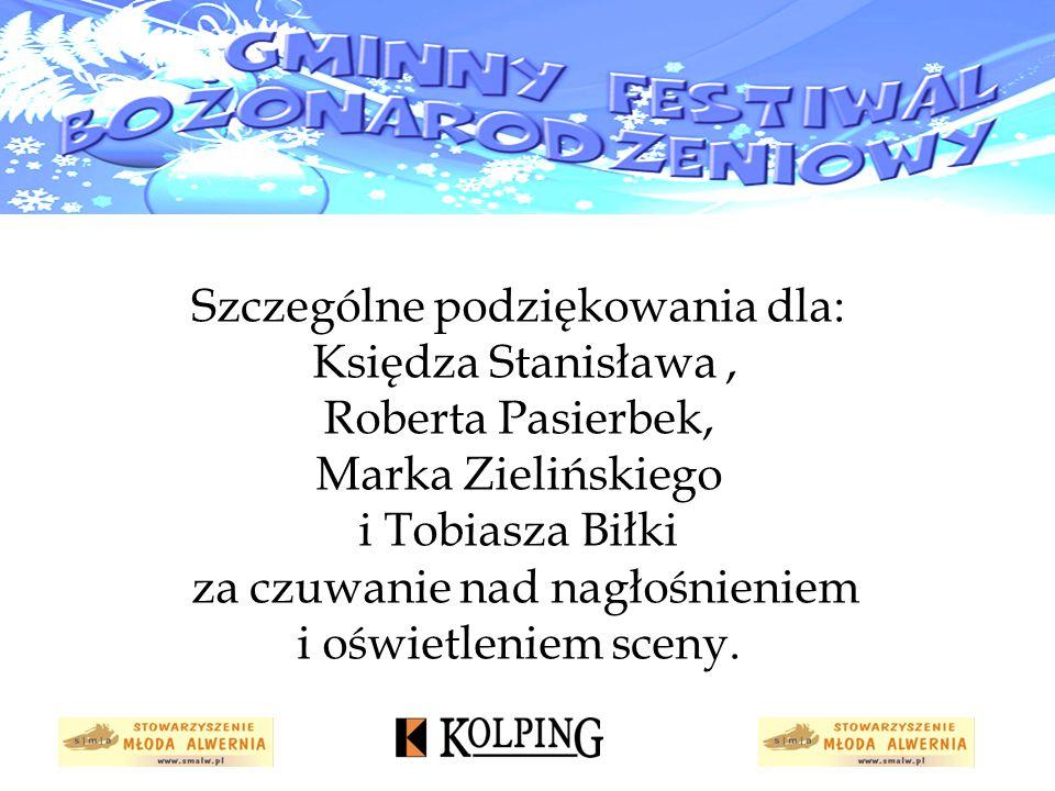 Szczególne podziękowania dla: Księdza Stanisława, Roberta Pasierbek, Marka Zielińskiego i Tobiasza Biłki za czuwanie nad nagłośnieniem i oświetleniem