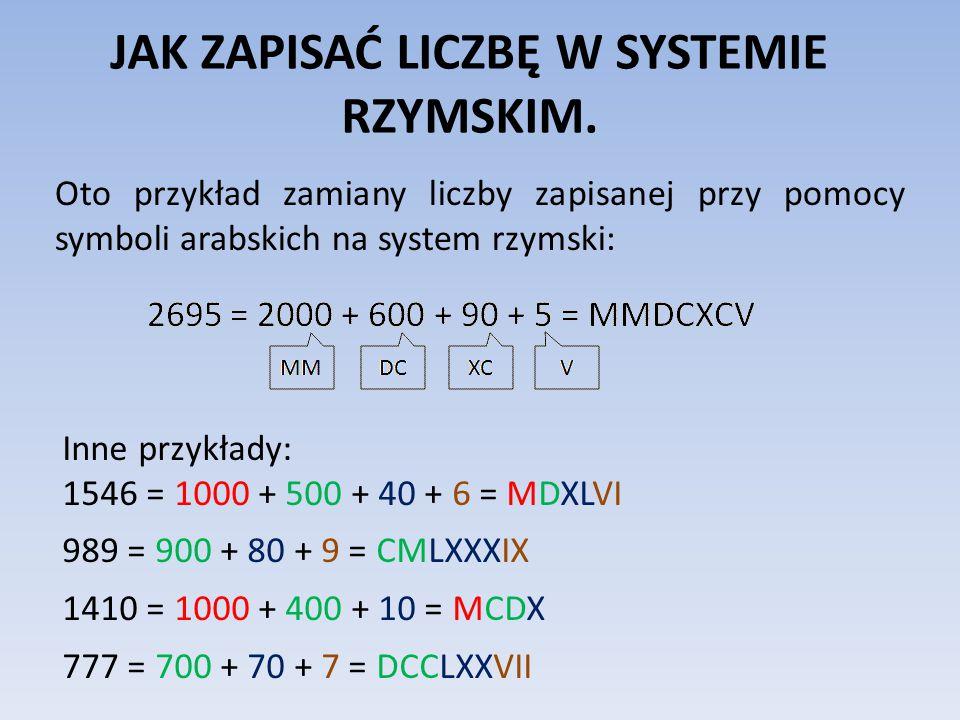 JAK ZAPISAĆ LICZBĘ W SYSTEMIE RZYMSKIM. Oto przykład zamiany liczby zapisanej przy pomocy symboli arabskich na system rzymski: Inne przykłady: 1546 =