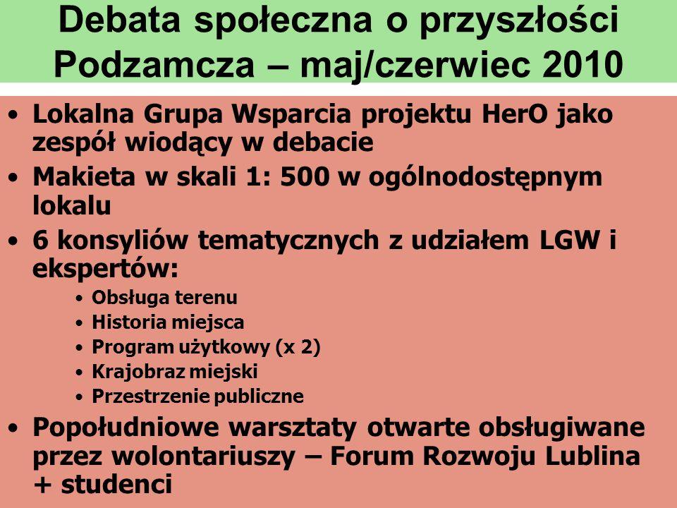 Debata społeczna o przyszłości Podzamcza – maj/czerwiec 2010 •Lokalna Grupa Wsparcia projektu HerO jako zespół wiodący w debacie •Makieta w skali 1: 5