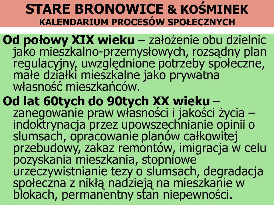 STARE BRONOWICE & KOŚMINEK KALENDARIUM PROCESÓW SPOŁECZNYCH Od połowy XIX wieku – założenie obu dzielnic jako mieszkalno-przemysłowych, rozsądny plan
