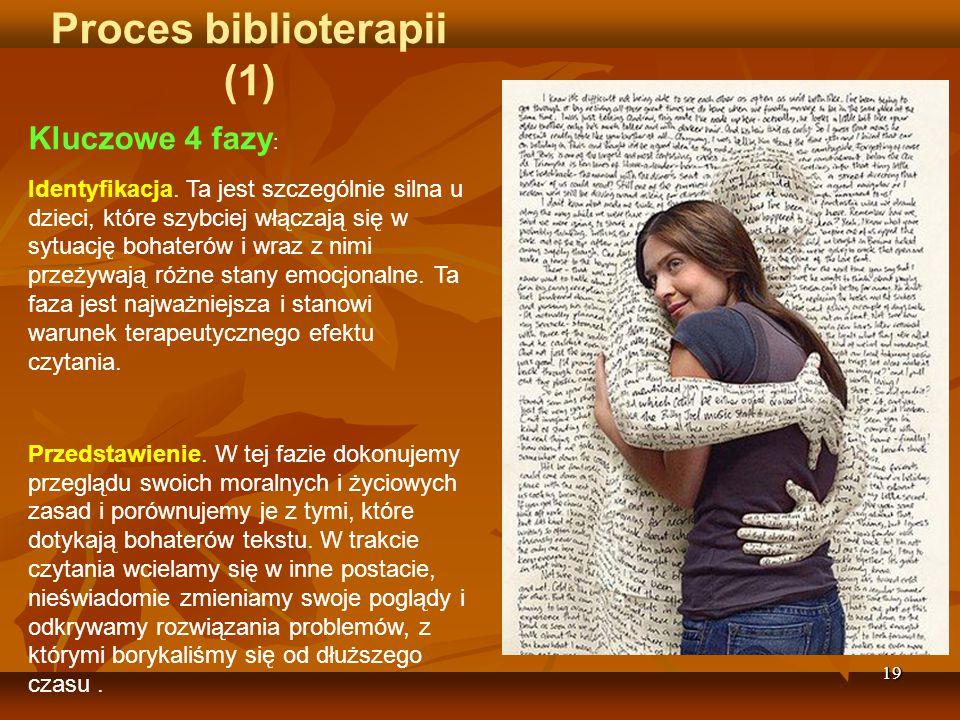 19 Proces biblioterapii (1) Kluczowe 4 fazy : Identyfikacja.