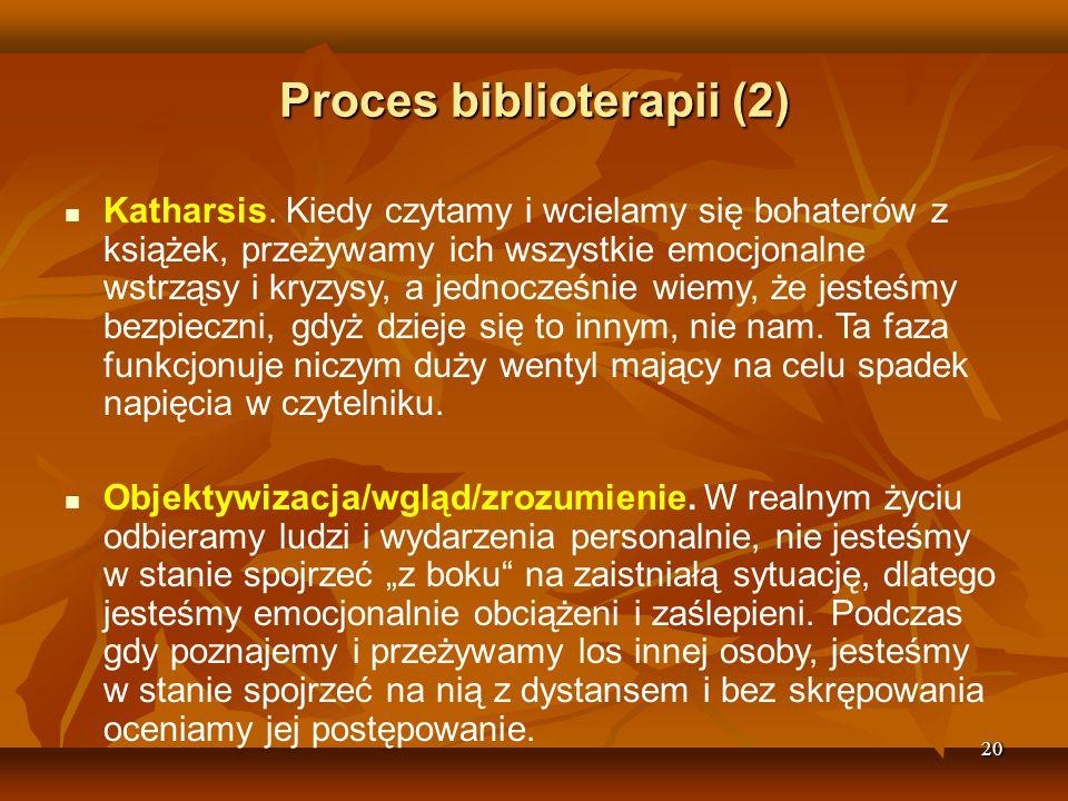 20 Proces biblioterapii (2)  Katharsis.