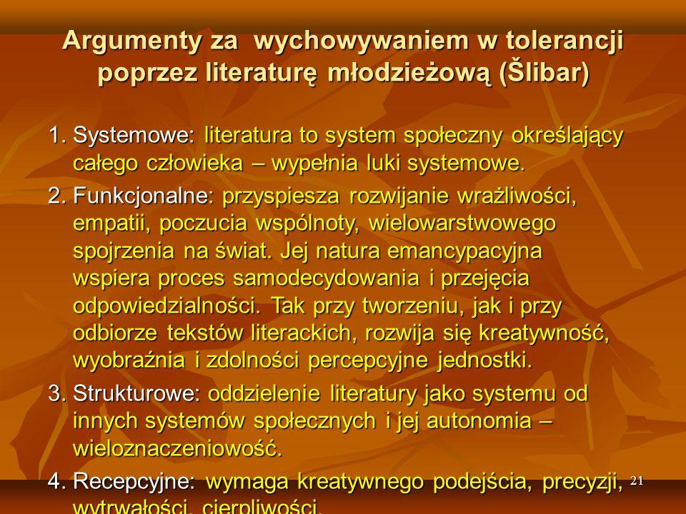 21 Argumenty za wychowywaniem w tolerancji poprzez literaturę młodzieżową (Šlibar) 1.