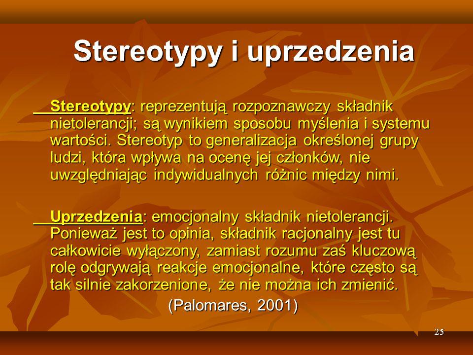 25 Stereotypy i uprzedzenia Stereotypy: reprezentują rozpoznawczy składnik nietolerancji; są wynikiem sposobu myślenia i systemu wartości.