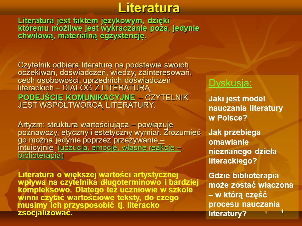 15 Biblioterapia - Kryteria wyboru literatury w szkole podstawowej (Zabukovec) (1) 1.