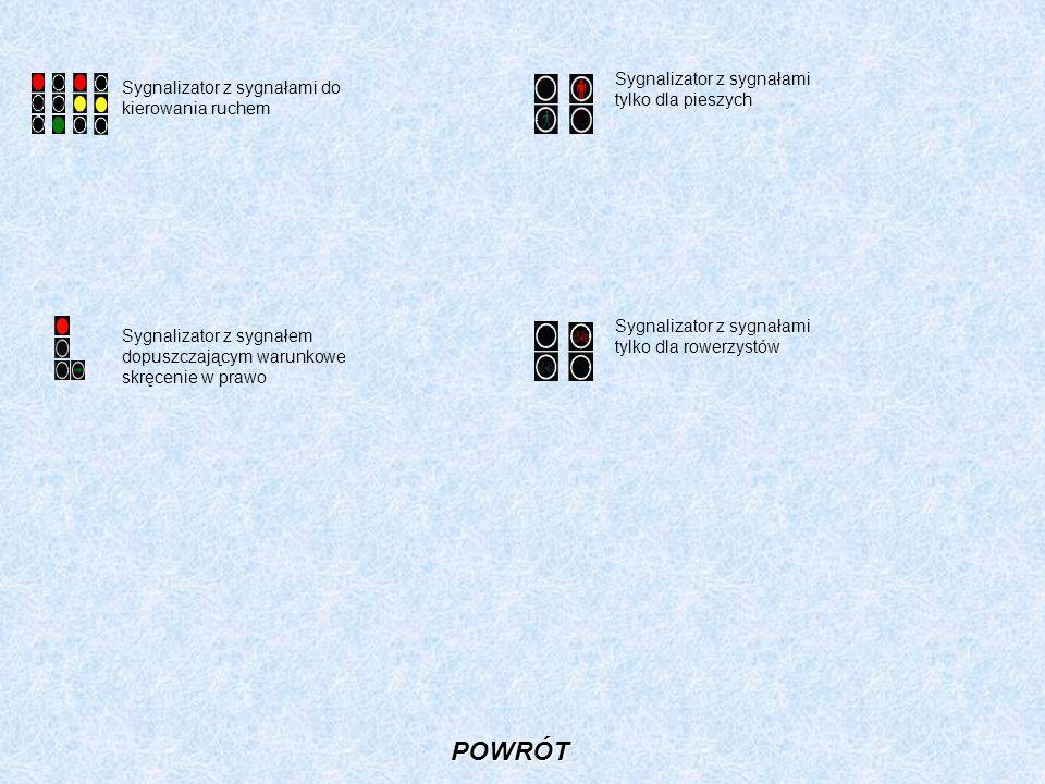 Sygnalizator z sygnałami do kierowania ruchem Sygnalizator z sygnałem dopuszczającym warunkowe skręcenie w prawo Sygnalizator z sygnałami tylko dla pi