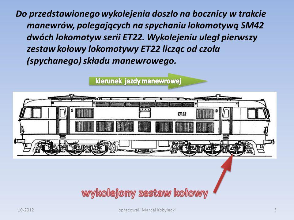 Do przedstawionego wykolejenia doszło na bocznicy w trakcie manewrów, polegających na spychaniu lokomotywą SM42 dwóch lokomotyw serii ET22. Wykolejeni