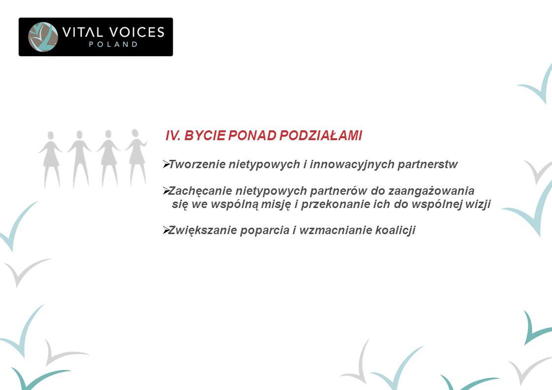 IV. BYCIE PONAD PODZIAŁAMI  Tworzenie nietypowych i innowacyjnych partnerstw  Zachęcanie nietypowych partnerów do zaangażowania się we wspólną misję