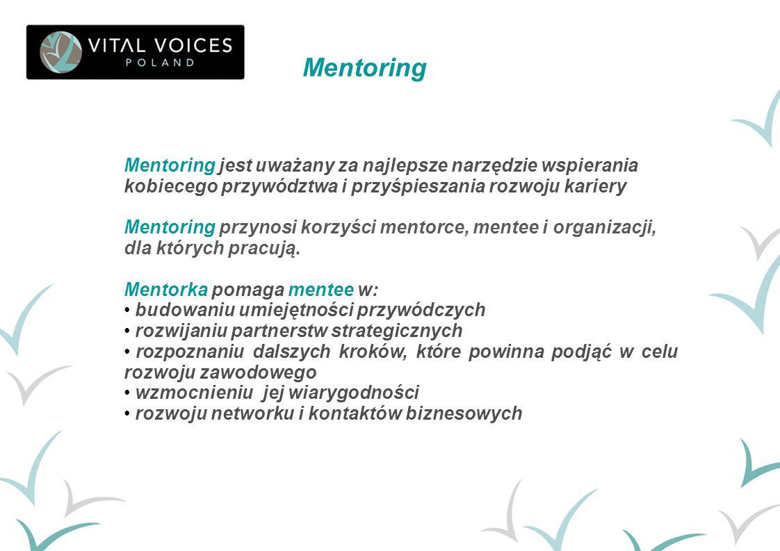 Mentoring jest uważany za najlepsze narzędzie wspierania kobiecego przywództwa i przyśpieszania rozwoju kariery Mentoring przynosi korzyści mentorce,
