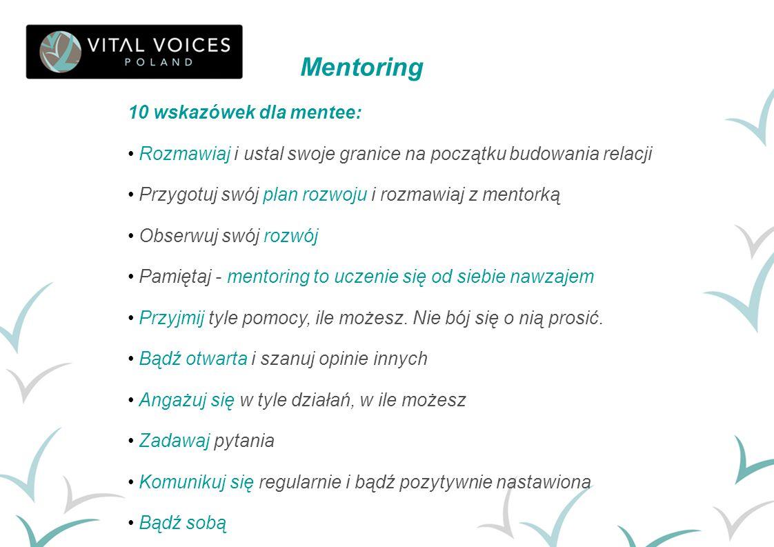 10 wskazówek dla mentee: Rozmawiaj i ustal swoje granice na początku budowania relacji Przygotuj swój plan rozwoju i rozmawiaj z mentorką Obserwuj swó
