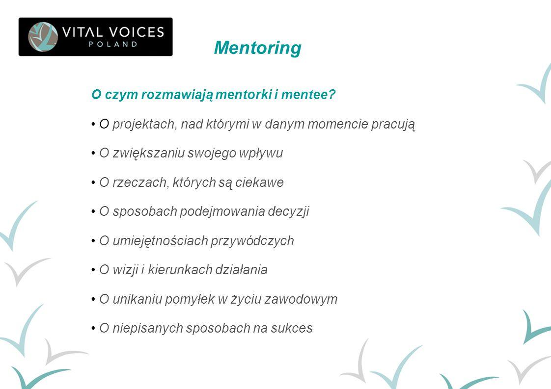 O czym rozmawiają mentorki i mentee? O projektach, nad którymi w danym momencie pracują O zwiększaniu swojego wpływu O rzeczach, których są ciekawe O