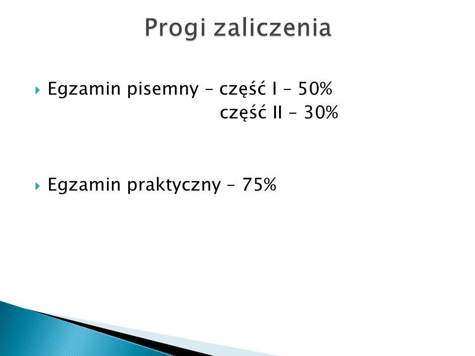 Egzamin pisemny – część I – 50% część II – 30%  Egzamin praktyczny – 75%