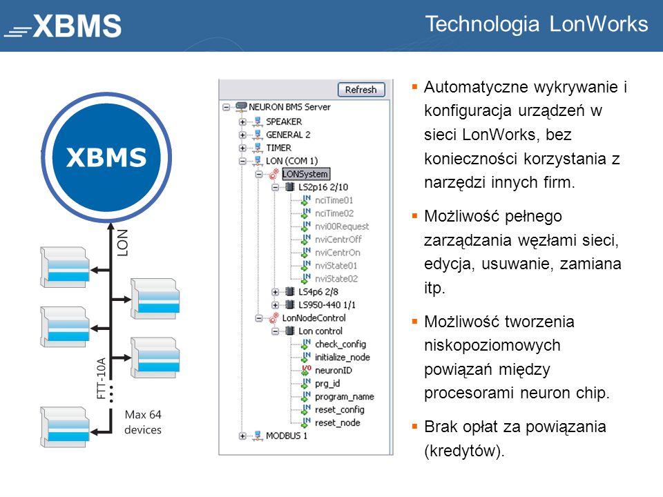  Automatyczne wykrywanie i konfiguracja urządzeń w sieci LonWorks, bez konieczności korzystania z narzędzi innych firm.  Możliwość pełnego zarządzan