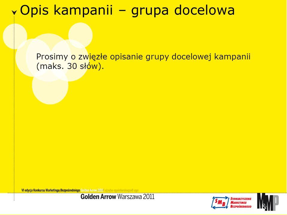 Opis kampanii – grupa docelowa Prosimy o zwięzłe opisanie grupy docelowej kampanii (maks.