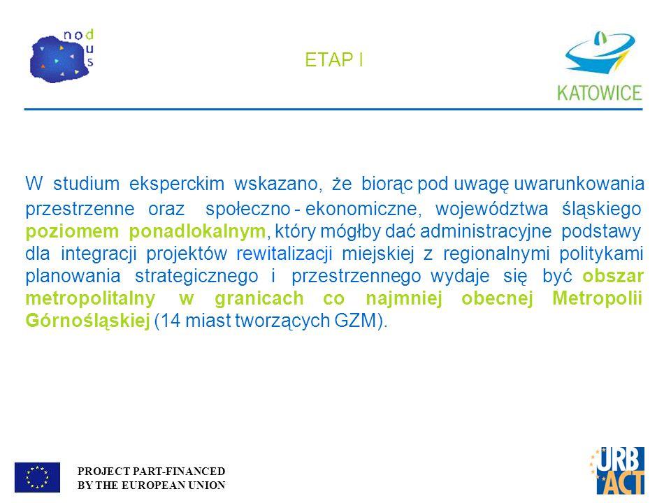 PROJECT PART-FINANCED BY THE EUROPEAN UNION ETAP I W studium eksperckim wskazano, że biorąc pod uwagę uwarunkowania przestrzenne oraz społeczno - ekon