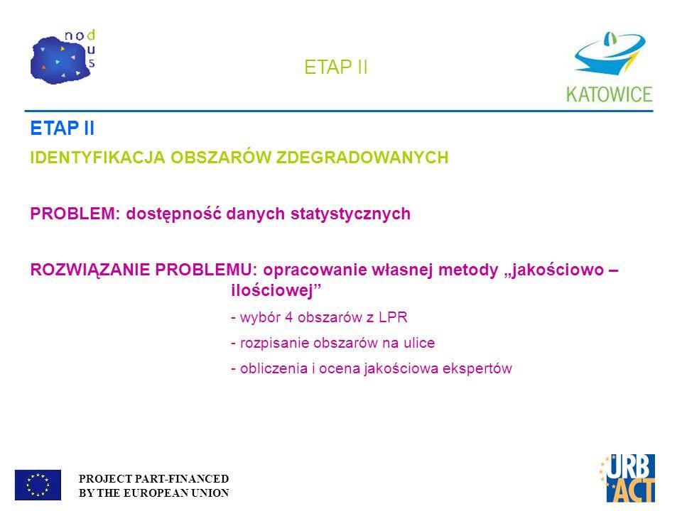 PROJECT PART-FINANCED BY THE EUROPEAN UNION ETAP II IDENTYFIKACJA OBSZARÓW ZDEGRADOWANYCH PROBLEM: dostępność danych statystycznych ROZWIĄZANIE PROBLE