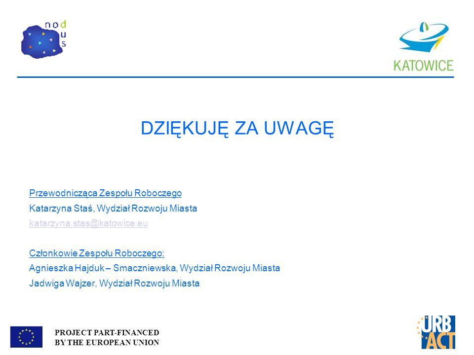 PROJECT PART-FINANCED BY THE EUROPEAN UNION DZIĘKUJĘ ZA UWAGĘ Przewodnicząca Zespołu Roboczego Katarzyna Staś, Wydział Rozwoju Miasta katarzyna.stas@k