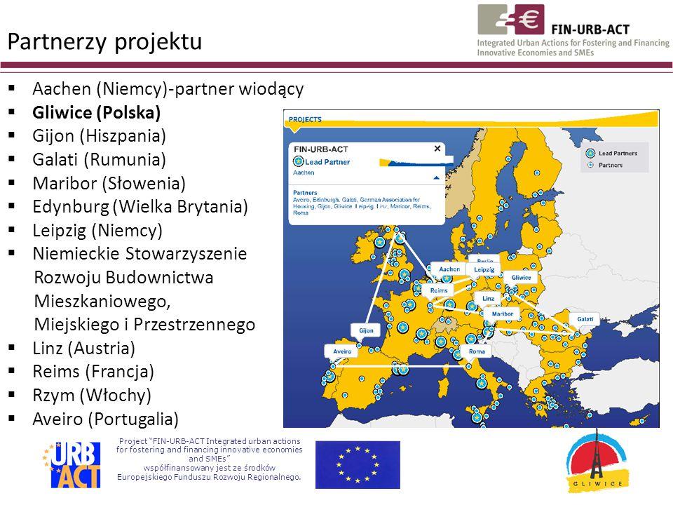 Partnerzy projektu  Aachen (Niemcy)-partner wiodący  Gliwice (Polska)  Gijon (Hiszpania)  Galati (Rumunia)  Maribor (Słowenia)  Edynburg (Wielka Brytania)  Leipzig (Niemcy)  Niemieckie Stowarzyszenie Rozwoju Budownictwa Mieszkaniowego, Miejskiego i Przestrzennego  Linz (Austria)  Reims (Francja)  Rzym (Włochy)  Aveiro (Portugalia)