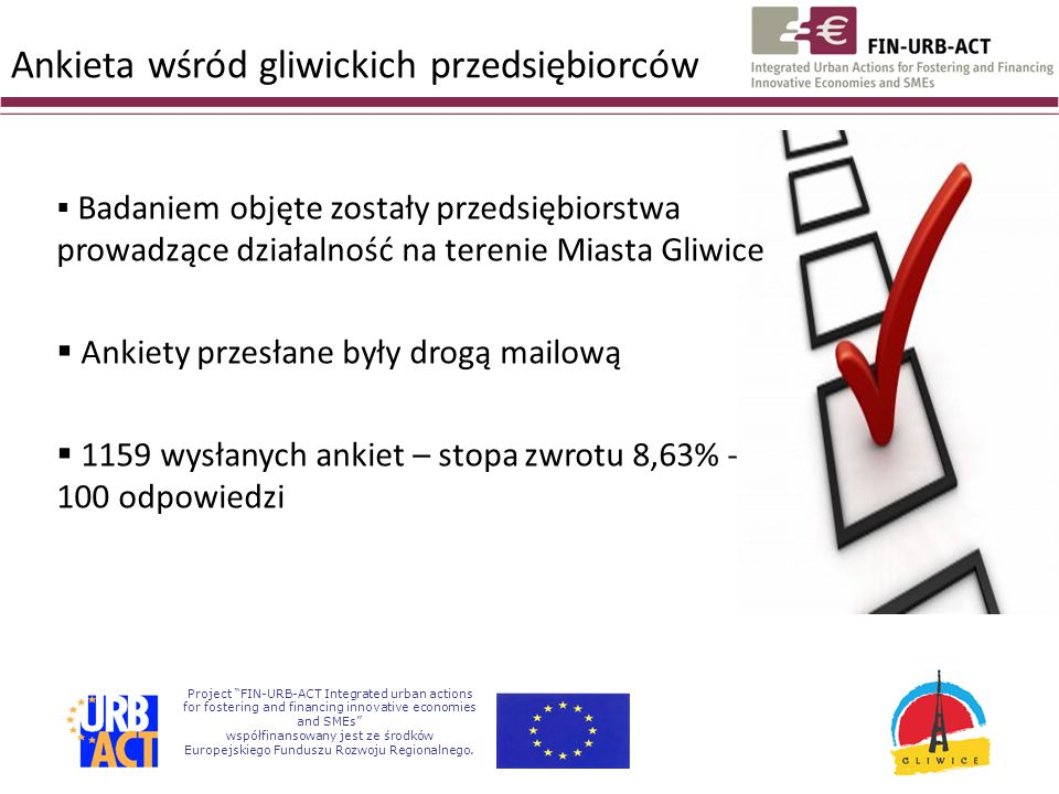 Project FIN-URB-ACT Integrated urban actions for fostering and financing innovative economies and SMEs współfinansowany jest ze środków Europejskiego Funduszu Rozwoju Regionalnego.