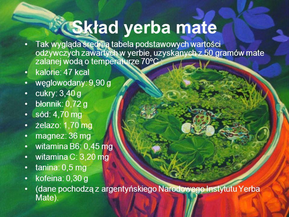 Skład yerba mate Tak wygląda średnia tabela podstawowych wartości odżywczych zawartych w yerbie, uzyskanych z 50 gramów mate zalanej wodą o temperatur