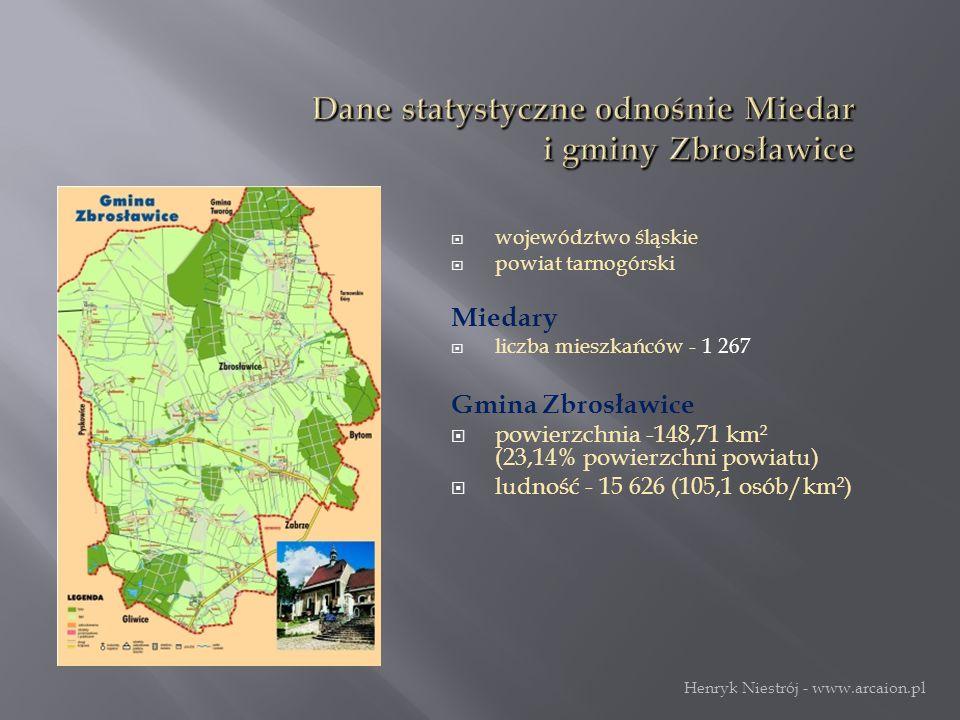  województwo śląskie  powiat tarnogórski Miedary  liczba mieszkańców - 1 267 Gmina Zbrosławice  powierzchnia -148,71 km² (23,14% powierzchni powiatu)  ludność - 15 626 (105,1 osób/km²) Herb Miedar Henryk Niestrój - www.arcaion.pl
