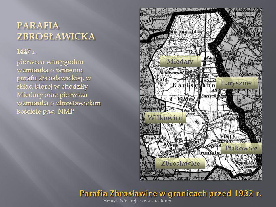 PARAFIA ZBROSŁAWICKA 1447 r.