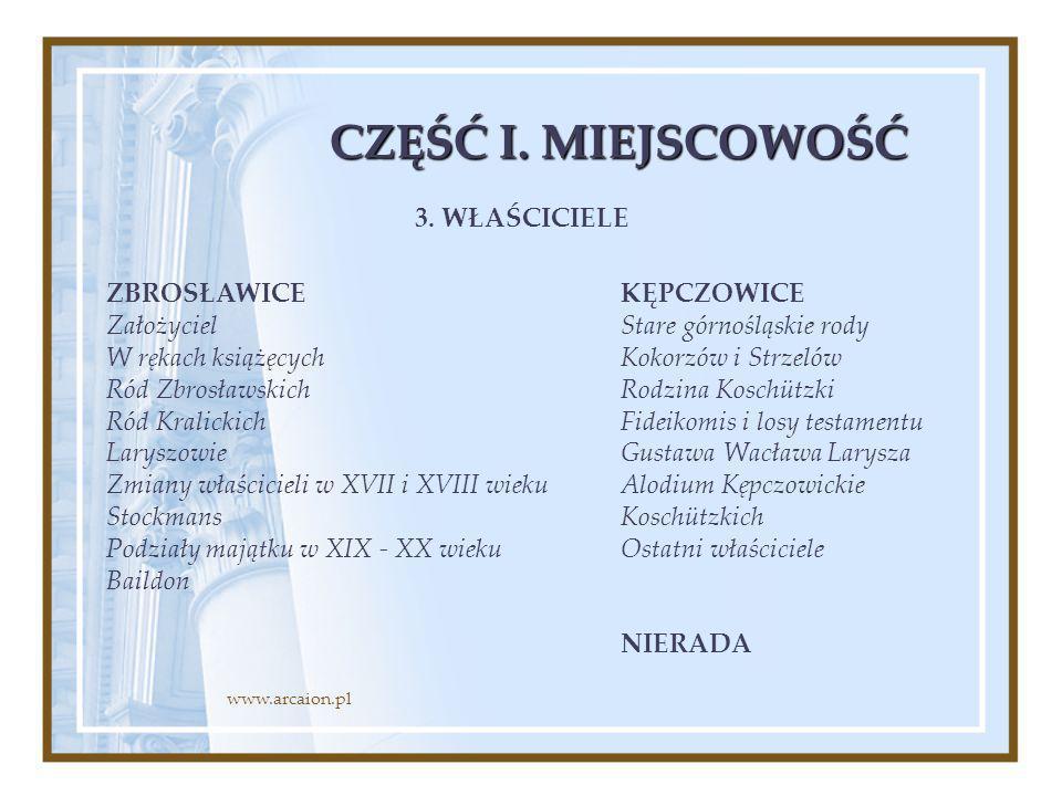 CZĘŚĆ I. MIEJSCOWOŚĆ ZBROSŁAWICE Założyciel W rękach książęcych Ród Zbrosławskich Ród Kralickich Laryszowie Zmiany właścicieli w XVII i XVIII wieku St