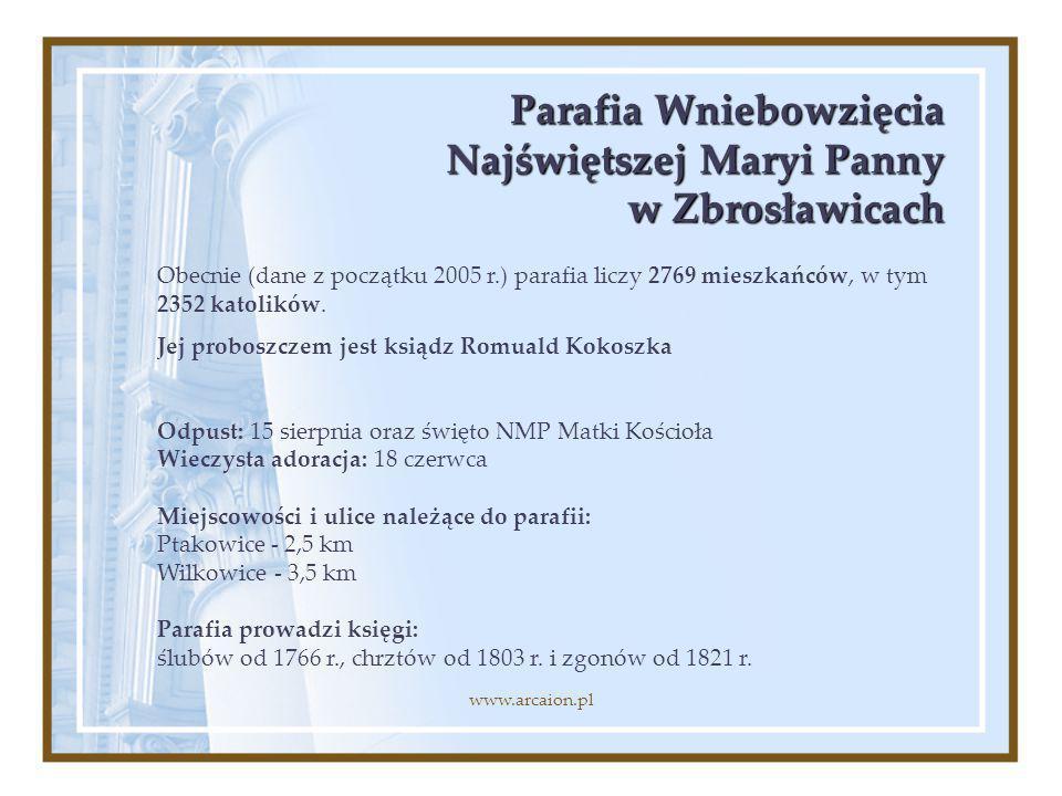 Parafia Wniebowzięcia Najświętszej Maryi Panny w Zbrosławicach Obecnie (dane z początku 2005 r.) parafia liczy 2769 mieszkańców, w tym 2352 katolików.