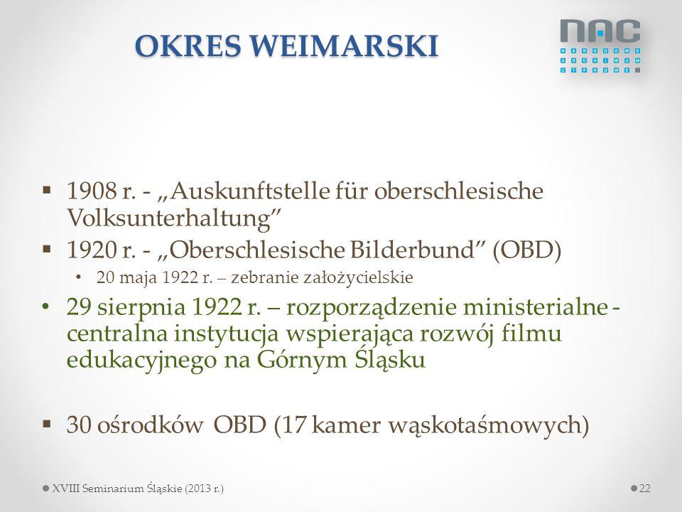 """OKRES WEIMARSKI  1908 r. - """"Auskunftstelle für oberschlesische Volksunterhaltung""""  1920 r. - """"Oberschlesische Bilderbund"""" (OBD) 20 maja 1922 r. – ze"""