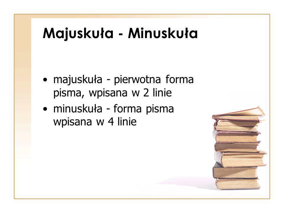 Majuskuła - Minuskuła majuskuła - pierwotna forma pisma, wpisana w 2 linie minuskuła - forma pisma wpisana w 4 linie